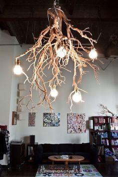 Люстра из ветки дерева, мебель для дома из подручных материалов, сделать мебели из подручных материалов своими руками