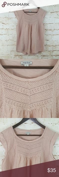 "Lucky Brand top Beautiful Lucky Brand top with crochet and embroidered detail excellent condition no flaws pretty dusty rose color 20"" across from armpit to armpit and 28"" long from shoulder to hem Lucky Brand Tops"