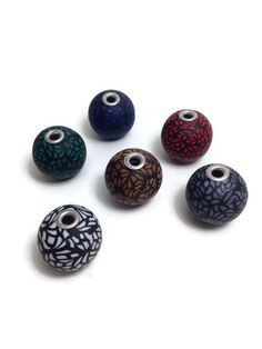 Polymer Clay Beads, Handmade Polymer Clay, Handmade Beads, Round Beads, Jewelry Supplies, I Shop, Pattern, Handmade Accessories, Model