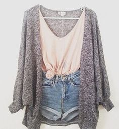 shorts jacket sweater t-shirt cute cardigan grey denim blouse knit jumper shirt cozy jacket tank top grey pink High waisted shorts denim sho...