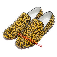 Discount Christian Louboutin Rollerboy Spikes Flats Leopard Prin