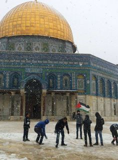 Kids playing around Al-Aqsa during the snow storm of 2013. Jerusalem, Palestine.