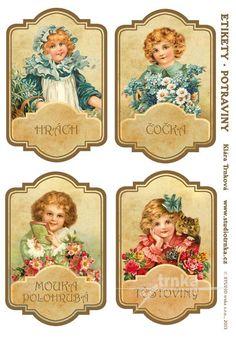 Samolepicí etikety na dózy s potravinami 20, 3 archy, holčičky