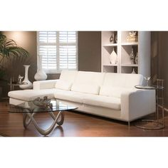 Update your home decor with this Riviera white leather sectional sofa. This 2-piece sectional sofa is upholstered in supple white top grain leather.