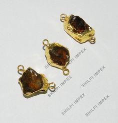 5Pc! Wholesale Lot Natural Cognac Quartz Brass Electroplated Pendant Connectors #Shining_Gems #Charms