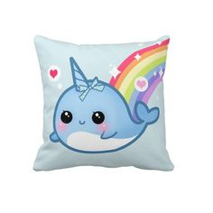 Kawaii Narwhal cushion case - ChibiBunny