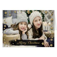 Christmas Holiday - Merry Christmas PHOTO Star Frm Card - merry christmas diy xmas present gift idea family holidays