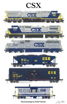 """An 11""""x17"""" poster with 6 of Andy Fletcher's hand drawings of CSX locomotives & rolling stock."""
