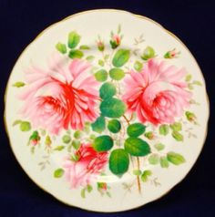"Hammersley Bone China Severn Rose Dinner Plate England Pink Gold Trim ~10 3/4"" #HammersleyBoneChina"