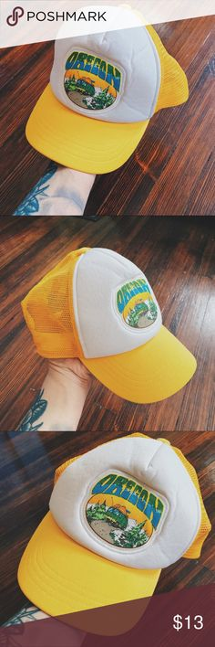 a93cbf740e6  etc  • unisex vintage inspired oregon trucker hat Vintage inspired worn in  yellow and