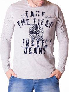 Bluza barbati Face The Field gri deschis Interior Design, Sweatshirts, Jeans, Sweaters, T Shirt, Tops, Women, Fashion, Nest Design