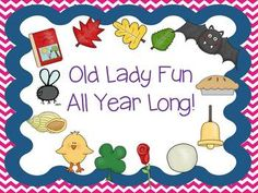 """Literacy Mini Packs for each of the 11 """"Old Lady Swallowed Books"""". Fun for the entire year!"""
