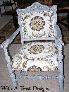 "Reupholstered chair using Miss Mustard Seed Milk Paint ""Shutter Gray"""