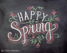 Carte - heureux printemps - Pâques carte - tableau Art - main lettrage-Chalk Art - craie couleur de printemps
