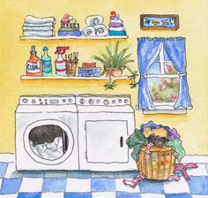 Laundry Day - giclee print of original watercolor illustration. $15,00, via Etsy.