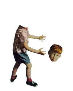 Surreal Art Original Collage on Paper Creepy Boy Odd by dadadreams