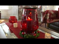 So pretty! Red sparkly glass hurricane collection for Christmas home decor  ▶ Crimson Sparkle - YouTube