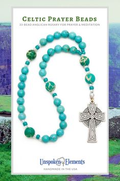 Protestant Prayer Beads by Unspoken Elements. Featuring turquoise howlite and jasper with a lovely silver Celtic cross. Makes a thoughtful gift for baptism, confirmation, Lent, Easter, recovery or healing. Handmade in the USA with love. Celtic Prayer, Diamond Solitaire Necklace, Prayer Beads, Bridal Sets, Thoughtful Gifts, Turquoise Bracelet, Diamond Cuts, Prayers, Beaded Necklace