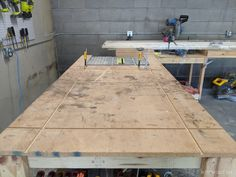 Mobile Workbench with Table Saw | Garage Workbench Plans, Table Saw Workbench, Building A Workbench, Mobile Workbench, Woodworking Furniture Plans, Woodworking Workbench, Woodworking Projects Diy, Rolling Workbench, Diy Projects Plans