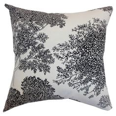 Black and white foliage pillow, calm and beautiful