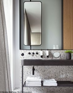 17 Fresh & Inspiring Bathroom Mirror Ideas to Shake Up Your Morning Lipstick Routine - Tall Skinny Mirror 2 - Modern Bathroom Mirrors, Beautiful Bathrooms, Master Bathroom, Paris Bathroom, Master Baths, Bathroom Black, Modern Bathrooms, Simple Bathroom, Bathroom Vanities