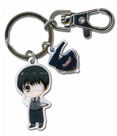 Tokyo Ghoul Metal Keychain - SD Kaneki & Mask.  Can you believe he's a cannibal