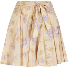 Purple print full hem mini skirt