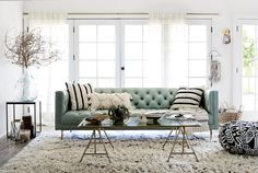 Get inspired - We styled the Mina Leather Sofa three different ways to transform your home for Spring.
