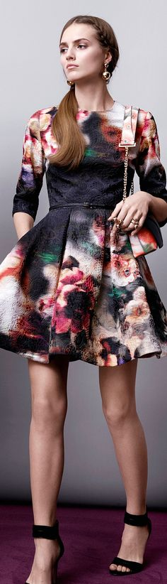 Black and red flowers dress with three quarter sleeves for fall