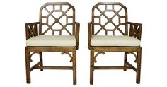 """Amazing pair of Chinese Chippendale fretwork armchairs in a burl wood veneer.  Includes fully detached seat cushions.  Arms, 26.25""""H; seats, 16.5""""H; with cushions, 19""""H. Minor wear, damage to finish."""