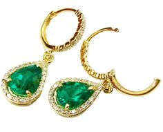 Yellow Gold Emerald Earrings Pear Shaped Colombian Emeralds