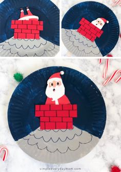This winter break, banish boredom and have fun with the kids when you make this paper plate Santa craft. It's a simple Christmas craft eveyone will love! Easy Toddler Crafts, Cute Kids Crafts, Paper Plate Crafts For Kids, Crafts For Boys, Preschool Crafts, Santa Crafts, Christmas Crafts For Kids, Xmas Crafts, Paper Plate Art