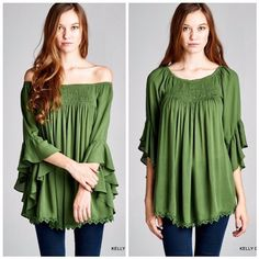 f0dc206ce92 Kelly Green On Off the Shoulder Top Fashion Tips