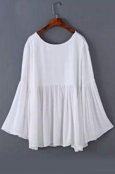 top cuello de bell espalda abierta-blanco-Spanish SheIn(Sheinside)