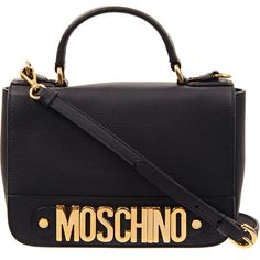 Black Gilt 'Moschino' Leather Shoulder Bag (£679) ❤ liked on Polyvore featuring bags, handbags, shoulder bags, leather shoulder strap handbags, genuine leather purse, shoulder bag purse, top handle leather handbags and moschino handbags