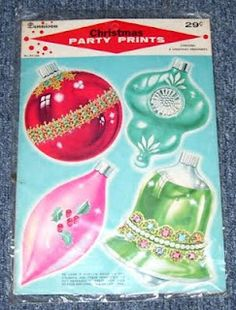 Vintage Dennison Christmas Tree Glitter Prints and Party Prints Ornament Cutouts