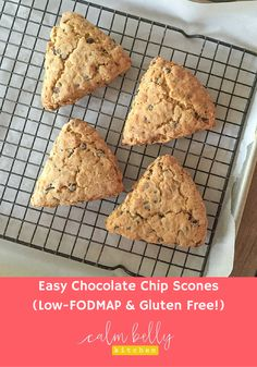 These gluten free, low-FODMAP scones have an amazing texture! You won't know they're gluten free. They're easy because you can use a gluten free flour like the King Arthur Multi-Purpose GF flour, which is my favorite. The satisfying scones have toasted oats and mini chocolate chips. Use whatever mix-in you want! Click through to get the recipe and bonus printable shopping list!