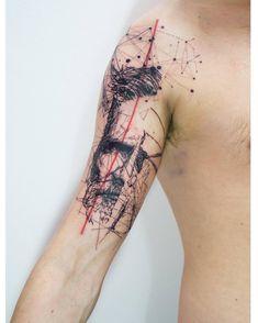 'Epicurious' by Mowgli #mowgli #mowgliartist #art #artist #avantgarde #graphical #graphicaltattoo #geometric #geometrictattoo #lines #portrait #portraittattoo #jeffbridges #tattrx #tattoo #tattoos #tattooartist #science #love #life #skeleton #london #throughmythirdeye