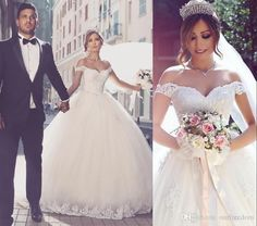2016 Saudi Arabic Off The Shoulder Wedding Dresses Lace Appliques Ball Gown Puffy Tulle Castle Bridal Gown Said Mhamade New Design Dresses Drop Waist Ball Gown Wedding Dress Princess Gown Wedding Dresses From Ourfreedom, $127.6  Dhgate.Com