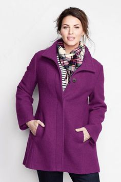 Plus Size Boiled Wool Swing Parka