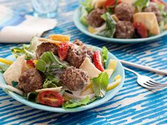 Greek Meatball Salad #myplate #veggies #protein
