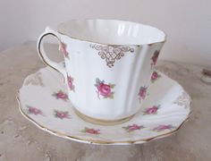Vintage tea cup ~ Sampson Smith Old Royal china ~ ribbed tea cup ~ teacup and saucer ~  pink floral tea cup ~ English bone china