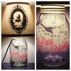 Sirenita inspirado Mason Jar carácter lámpara 2.0