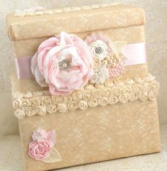 Bridal Card Box Keepsake Wedding Card Box in Champagne, Light Pink and Ivory with Lace and Pearls via Etsy
