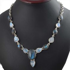 LABRADORITE & RMS 925 SOLID STERLING SILVER FANCY STYLISH NECKLACE 32.44g NK0024 #Handmade #NECKLACE