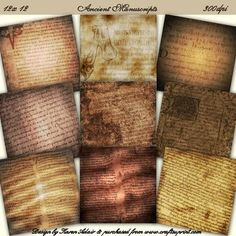 """Ancient Manuscripts Scrapbooking Paper Set on Craftsuprint designed by Karen Adair - This is a set of 9 scrapbooking papers, with an ancient manuscripts theme. All with an aged effect in brown and sepia tones. Each sheet is 12"""" x 12"""", at 300 dpi in jpeg format. Please observe my TOU for scrapbooking items, a copy of which is included in the pack. If you like this check out my other designs, just click on my name. - Now available for download!"""