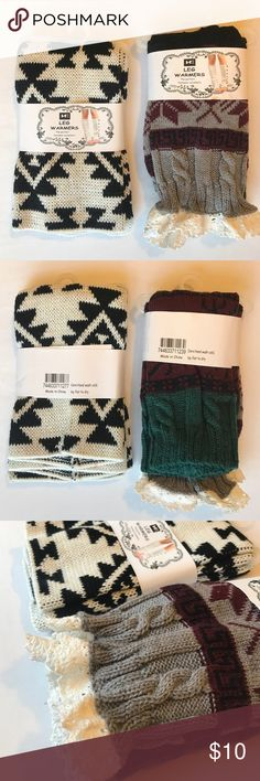 👢RESTOCKED👢 cute leg warmers bundle of 2 pairs Restocked!!! These cute leg warmers look perfect with your favorite pair of boots! Stylish, yet comfortable. This is a popular trend right now. Make it a part of your fashion statement! The lace trim gives an added feminine look to your outfit :) these boot socks are a thick knit and has stretch capacity 👍🏻 this listing is for a bundle of 2 pairs as shown. Fun patterns to go with your outfit! *can mix & match w/ any colors currently avail…