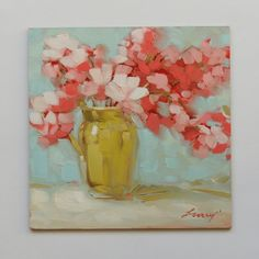 pink  flowers in green vase 6x6 inch impressionistic by LaveryArt, $65.00