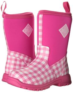 Muck Boot Kids Breezy Mid Rain Boots Pink Gingham Size 2.0M