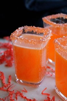 Cocktail recipe for a Hocus Pocus Fizz made with 1 cup pineapple juice cup rum teaspoon Imitation Coconut Extract 3 drops Red Food Color 2 drops Yellow Food Color 1 bottle ml) sparkling white wine Party Drinks, Cocktail Drinks, Fun Drinks, Yummy Drinks, Cocktail Recipes, Mixed Drinks, Alcoholic Beverages, Fun Cocktails, Orange Alcoholic Drinks